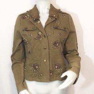 Beaded Hippy Boho Brown Denim Jacket